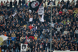 Fans of Udinese during football match between Udinese Calcio and Palermo in 8th Round of Italian Seria A league, on October 24, 2010 at Stadium Friuli, Udine, Italy.  Udinese defeated Palermo 2 - 1. (Photo By Vid Ponikvar / Sportida.com)