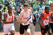 From left, Rancocas Valley's Micah Wood, Lenape's Matt Doerner and Pennsauken's Donte Jamison start the first leg of the High School Boys' 4x400 South Jersey Large race at the 124th running of the Penn Relays Saturday, April 28, 2018 in Philadelphia. (Photo by William Thomas Cain)