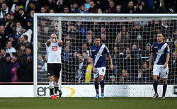 Jeff Hendrick of Derby County looks frustrated after missing an opportunity to score - Mandatory byline: Robbie Stephenson/JMP - 16/01/2016 - FOOTBALL - iPro Stadium - Derby, England - Derby County v Birmingham City - Sky Bet Championship