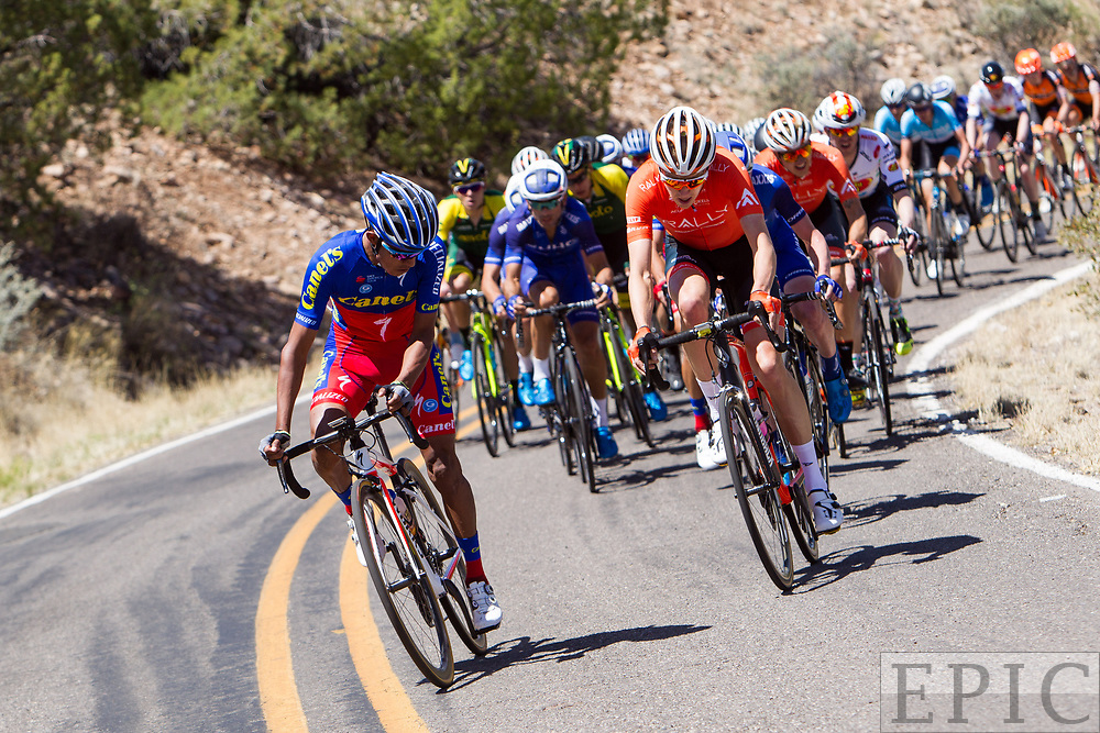 SILVERY CITY, NM - APRIL 18: A Canel's rider attacks the field at the base of the climb on stage 1 of the Tour of The Gila on April 18, 2018 in Silver City, New Mexico. (Photo by Jonathan Devich/Epicimages.us)