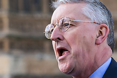 2015-10-14 FILE IMAGE: Shadow Foreign Secretary Hilary Benn MP outside Parliament.