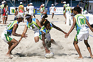 Camps Bay, A player reaches over for a try during the Oasis SKW Camps Bay Beach Touch Rugby Tournament held on the 2 February 2008, Cape Town, South Africa...Image © Sportzpics