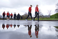 CARDIFF, WALES - Thursday, April 4, 2019: Wales' Cori Williams (R) and goalkeeper Laura O'Sullivan during a pre-match team walk at the Vale Resort ahead of an International Friendly match between Wales and Czech Republic at Rodney Parade. (Pic by David Rawcliffe/Propaganda)