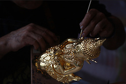 August 3, 2017 - Thailand - Authorities from office of traditional arts made decorative molding details of angel decorate for the Royal Chariots vehicle that will be used to carry the body and the royal urn of late Thai King Bhumibol Adulyadej in the royal cremation at the National Museum in Bangkok on Aug 3, 2017. (Credit Image: © Vichan Poti/Pacific Press via ZUMA Wire)