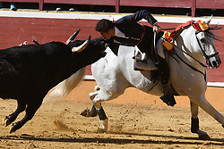 June 28, 2017 - Soria, Soria, Spain - Leonardo Hernández, a bullfighter on horseback, performs with a Laura Velasco ranch bull during a bullfight at the 'La Chata' bullring in Soria, north of Spain. (Credit Image: © Jorge Sanz/Pacific Press via ZUMA Wire)