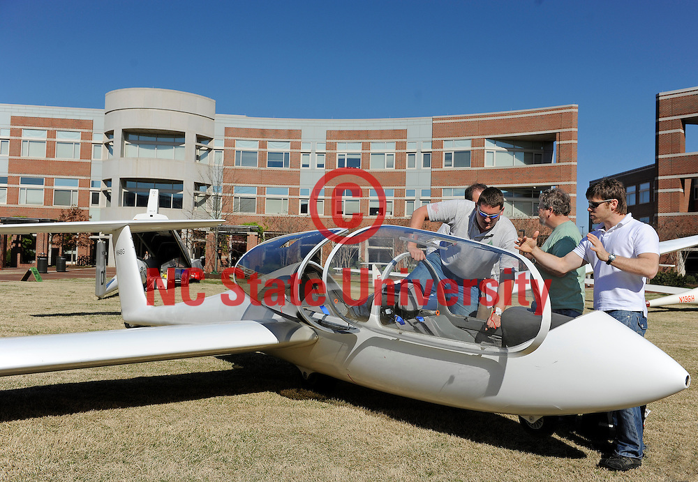 Sailplanes visit the Engineering complex Thursday, March 24 on Centennial Campus. Photo by Marc Hall