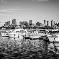 Boston Skyline Charles River boats black and white photo. Boston Massachusetts is a major city in the Eastern United States of America.
