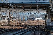 Merging train tracks. Matsumoto, Nagano Prefecture, Japan.