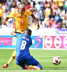 Cape Town-180915- Kaizer Chiefs Striker Lebohanga Manyama challenged by Cape Town City's Teko Modise  in the ABSA Premiership clash at the cape Town Stadium.Chiefs are still looking for their first win of the season,so far they have maneged 3 draws and a loss..Photographs:Phando Jikelo/African News Agency/ANA