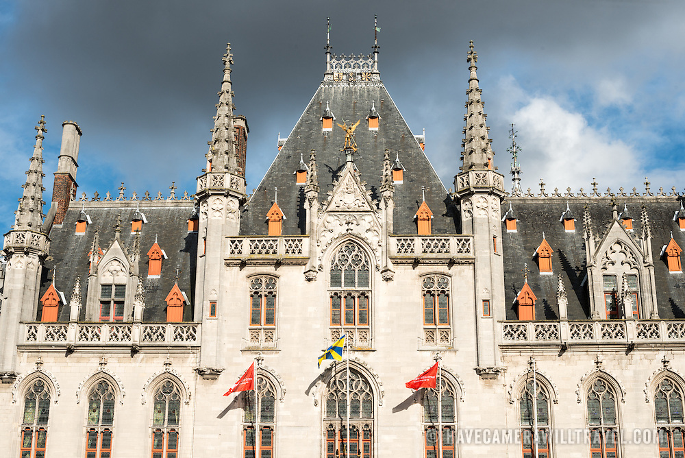 The Provincial Court building in the Markt (Market Square) in the historic center of Bruges, a UNESCO World Heritage site.