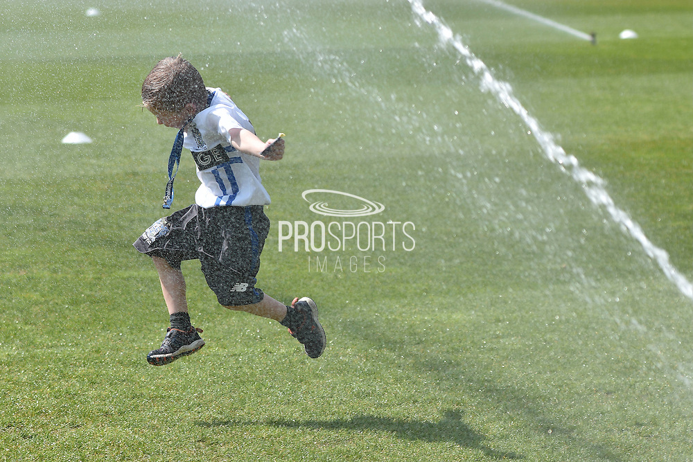 A Bury Mascot cools down before  the Sky Bet League 1 match between Bury and Southend United at the JD Stadium, Bury, England on 8 May 2016. Photo by Mark Pollitt.