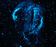 The Cygnus Loop nebula, taken by NASA's Galaxy Evolution Explorer. The nebula lies about 1,500 light-years away, and is a supernova remnant, left over from a massive stellar explosion that occurred between 5,000 to 8,000 years ago.