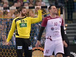 11.03.2016, Leipzig, GER, Handball L&auml;nderspiel, Deutschland vs Katar, Herren, im Bild Andreas Wolff (GER #33) ballt die Faust zum Jubel // during the men's Handball international Friendlies between Germany and Qatar in Leipzig, Germany on 2016/03/11. EXPA Pictures &copy; 2016, PhotoCredit: EXPA/ Eibner-Pressefoto/ Modla<br /> <br /> *****ATTENTION - OUT of GER*****