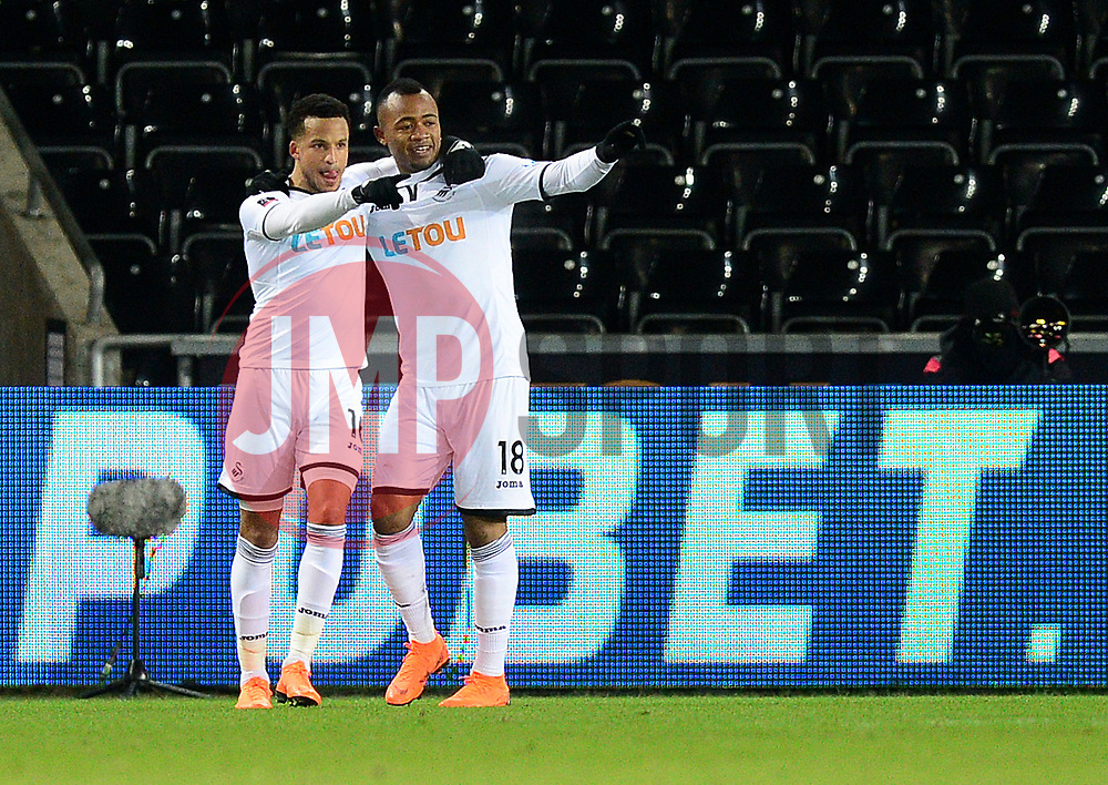 Jordan Ayew of Swansea City celebrates his goal with Martin Olsson of Swansea City - Mandatory by-line: Alex James/JMP - 27/02/2018 - FOOTBALL - Liberty Stadium - Swansea, England - Swansea City v Sheffield Wednesday - Emirates FA Cup fifth round proper