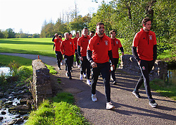 CARDIFF, WALES - Monday, October 9, 2017: Wales players during a pre-match walk at the Vale Resort ahead of the 2018 FIFA World Cup Qualifying Group D match between Wales and Republic of Ireland. Hal Robson-Kanu and goalkeeper Daniel Ward. (Pic by David Rawcliffe/Propaganda)