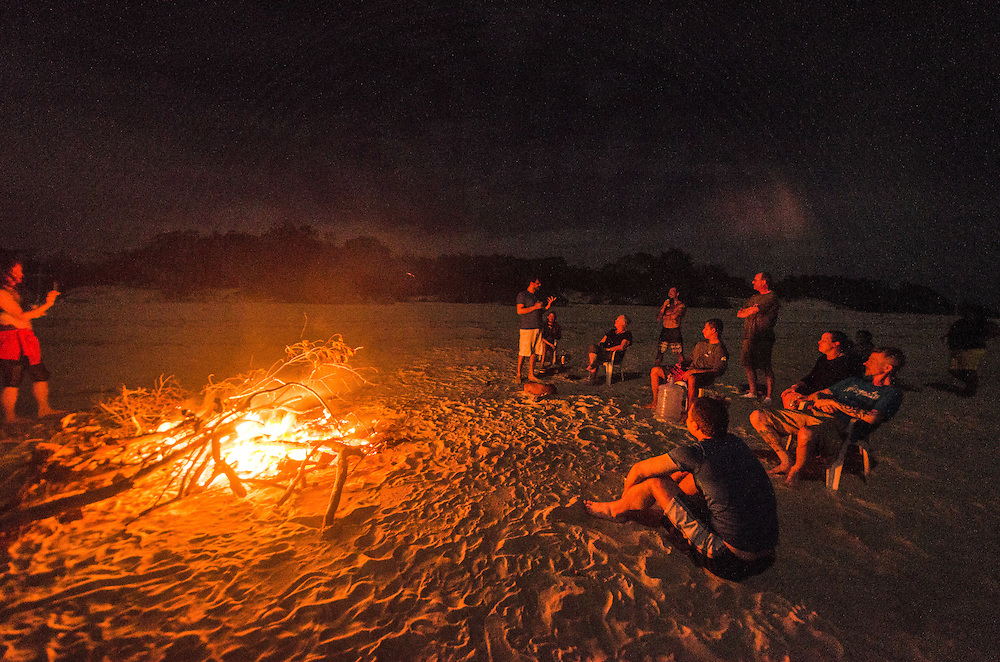 Negro river, stop at the beach of Praia Grande. A full moon night with bonfire.