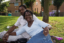 Couple relaxing in the park,