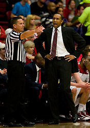 February 13, 2010; Stanford, CA, USA;  Stanford Cardinal head coach Johnny Dawkins argues a call during the first half against the Washington Huskies at Maples Pavilion. Washington defeated Stanford 78-61.