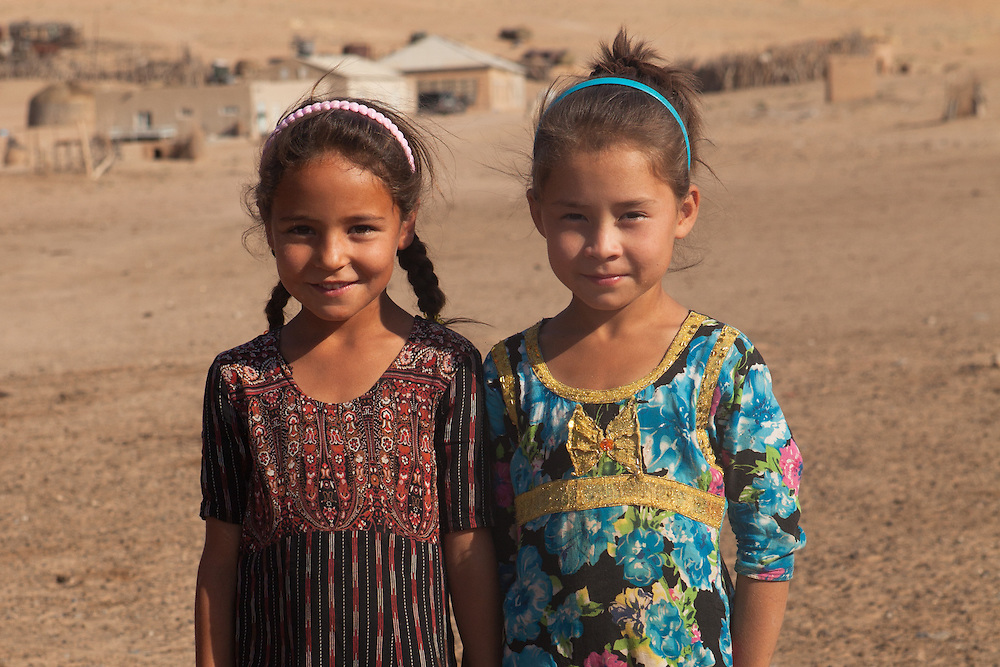 Two young girls in a remote village in the Karakum Desert, Turkmenistan