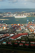Aerial view of Manzanillo containers port and Colon city on background. Colon province, Panama, Central America.
