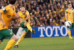 © Licensed to London News Pictures. 11/6/2013. Marco Bresciano kicks the ball during the FIFA World Cup Qualifying match between Australia Vs Jordan at Docklands stadium, Melbourne, Australia.. Photo credit : Asanka Brendon Ratnayake/LNP