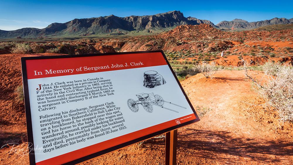 Interpretive sign at Civil War veteran John B. Clark memorial, Valley of Fire State Park, Nevada USA