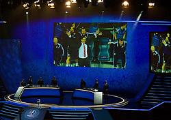 PARIS, FRANCE - Saturday, December 12, 2015: Wales are introduced during the draw for the UEFA Euro 2016 Championship at Le Palais des Congrès de Paris. (Pic by David Rawcliffe/Propaganda)
