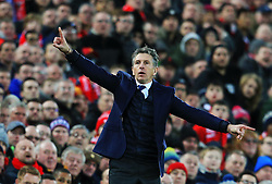 Leicester City manager Claude Puel gestures - Mandatory by-line: Matt McNulty/JMP - 30/12/2017 - FOOTBALL - Anfield - Liverpool, England - Liverpool v Leicester City - Premier League