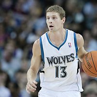 04 October 2010: Minnesota Timberwolves guard Luke Ridnour brings the ball upcourt during the Minnesota Timberwolves 111-92 victory over the Los Angeles Lakers, during 2010 NBA Europe Live, at the O2 Arena in London, England.
