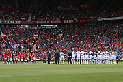 Minutes silence during the Michael Carrick Testimonial Match between Manchester United 2008 XI and Michael Carrick All-Star XI at Old Trafford, Manchester, England on 4 June 2017. Photo by Phil Duncan.