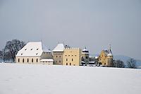 Lenzburg Castle in all it's glory, seen across a snowy hilltop.  Aargau, Switzerland.