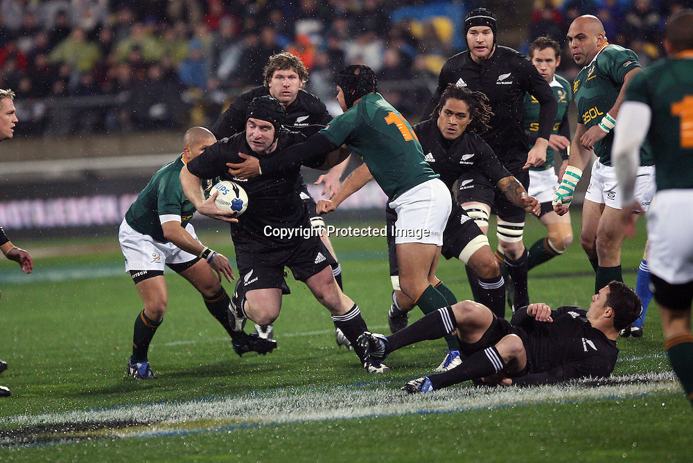 Andrew Hore carries the ball. Philips Tri Nations, All Blacks vs South Africa, Westpac Stadium, Wellington, New Zealand, Saturday 5 July 2008. Photo: Marc Weakley/PHOTOSPORT