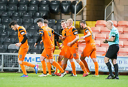Dundee United's Thomas Mikkelsen celebrates after scoring their goal. half time : Dundee United 1 v 0 Raith Rovers, Scottish Championship game played 4/2/2017 at Dundee United's stadium Tannadice Park.