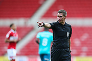 the referee Matthew Donohue during the EFL Sky Bet Championship match between Middlesbrough and Bournemouth at the Riverside Stadium, Middlesbrough, England on 19 September 2020.