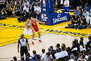 Golden State Warriors guard Klay Thompson (11) defends Houston Rockets forward Ryan Anderson (33) at Oracle Arena in Oakland, Calif., on October 17, 2017. (Stan Olszewski/Special to S.F. Examiner)