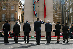 © Licensed to London News Pictures 25/04/2013.Australian, New Zealand and British soldiers and ex-veterans prepare for ANZAC Day ceremonies at the Cenotaph in central London..London, UK.Photo credit: Anna Branthwaite/LNP
