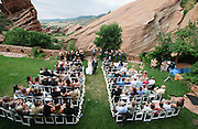 Wedding of Lindsay and Chris at Red Rocks Park and Amphitheatre on July 13, 2013, in Denver, Colorado.
