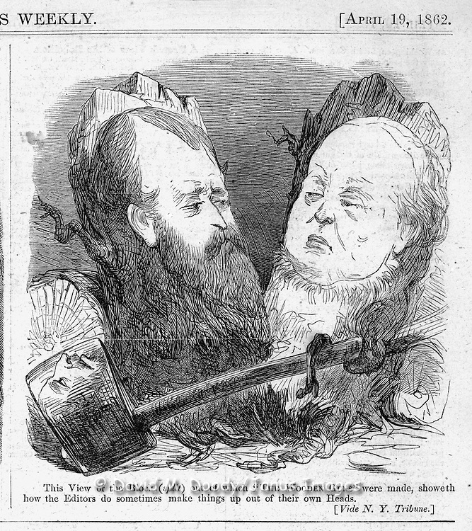 """This view out of which the wooden guns were made, showeth how the Editors do sometimes make things up out of their own Heads."" Civil War Political cartoons and advertisements   Harper's Weekly April 19, 1862"