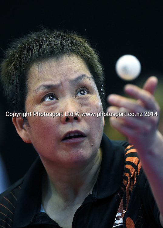 Li Chunli training before the start of the Table Tennis competition at the Glasgow Commonwealth Games 2014. Scotland. Wednesday 23 July 2014.Photo:Andrew Cornaga/www.photosport.co.nz