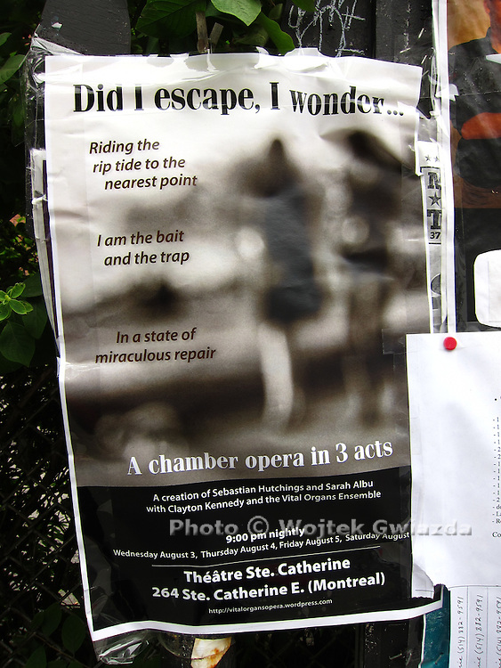 Poster for chamber opera in Montreal.