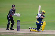 Jimmy Adams of Hampshire batting and Ryan Davies of Somerset during the Royal London One Day Cup match between Hampshire County Cricket Club and Somerset County Cricket Club at the Ageas Bowl, Southampton, United Kingdom on 2 August 2016. Photo by David Vokes.
