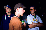 3 guys hanging out backstage on the Vans Warped Tour at Reading festival August 1996
