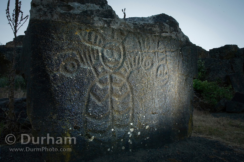 "The shape of a shaman or mystreious mythical figure stand in relief - etched into a rock on the ""Temani Pesh-wa"" trail (also ""written on rock"" trail) in Columbia Hills State Park on the Washington Side of the Columbia River Gorge. This petroglyph was removed from the famous ""Petroglyoh Canyon"" along the Columbia River before it was flooded by construction of The Dalles Dam in 1957. The Army Corps Of Engineers stored the rock art until 2004 when Temani Pesh-wa trail was built."