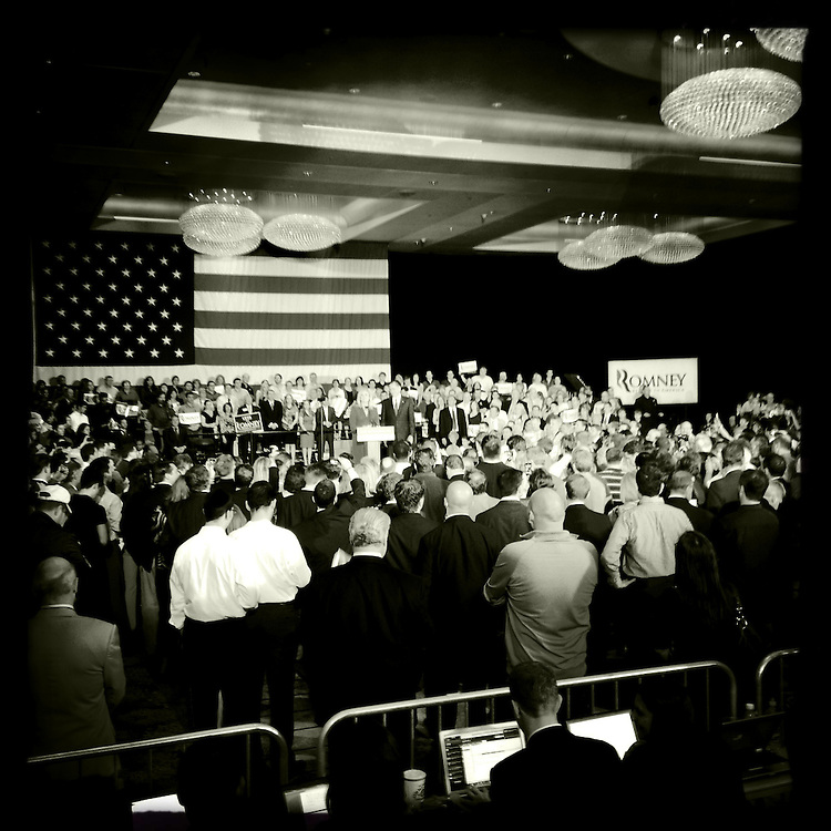 Photo By Michael R. Schmidt.Iphone 4s Hipstamatic photo of Mitt Romney's rally in Chicago. 2012.