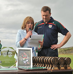 Teresa O'Dea and Donal Walsh Kilmaine Club Chairman at the Padraig O'Dea Memorial game in Kilmaine on saturday last.<br /> Pic Conor McKeown