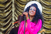 Kelis performs on the Pyramid Stage. The 2014 Glastonbury Festival, Worthy Farm, Glastonbury. 28 June 2013.