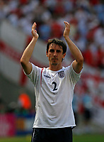Photo: Glyn Thomas.<br />England v Paraguay. Group B, FIFA World Cup 2006. 10/06/2006.<br /> England's Gary Neville applauds the fans.