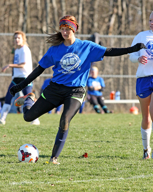 The Blues teams Ashleigh Hobbs from Fredonia during soccer action at Strider Field 11-15-15 photo by Mark L. Anderson