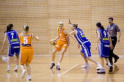 Natallia Tratsiak of Hit vs Rankica Sarenac of Merkur at 4th final match of Slovenian women basketball 1st league between Hit Kranjska Gora and ZKK Merkur Celje, on May 13, 2010, in Arena Vitranc, Kranjska Gora, Slovenia. Celje defeated Kr. Gora 71-60 and the result after 4th match is 2-2. (Photo by Vid Ponikvar / Sportida)