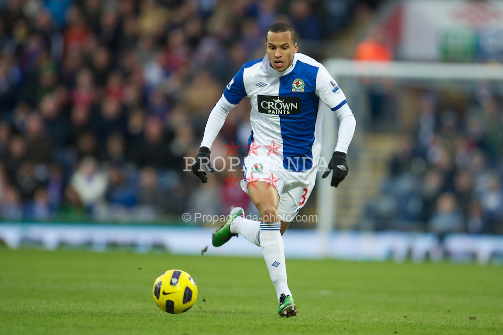 BLACKBURN, ENGLAND - Sunday, January 23, 2011: Blackburn Rovers' Martin Olsson in action against Bromwich Albion during the Premiership match at Ewood Park. (Photo by David Rawcliffe/Propaganda)